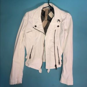 Burberry Brit White Motorcycle Jean Jacket